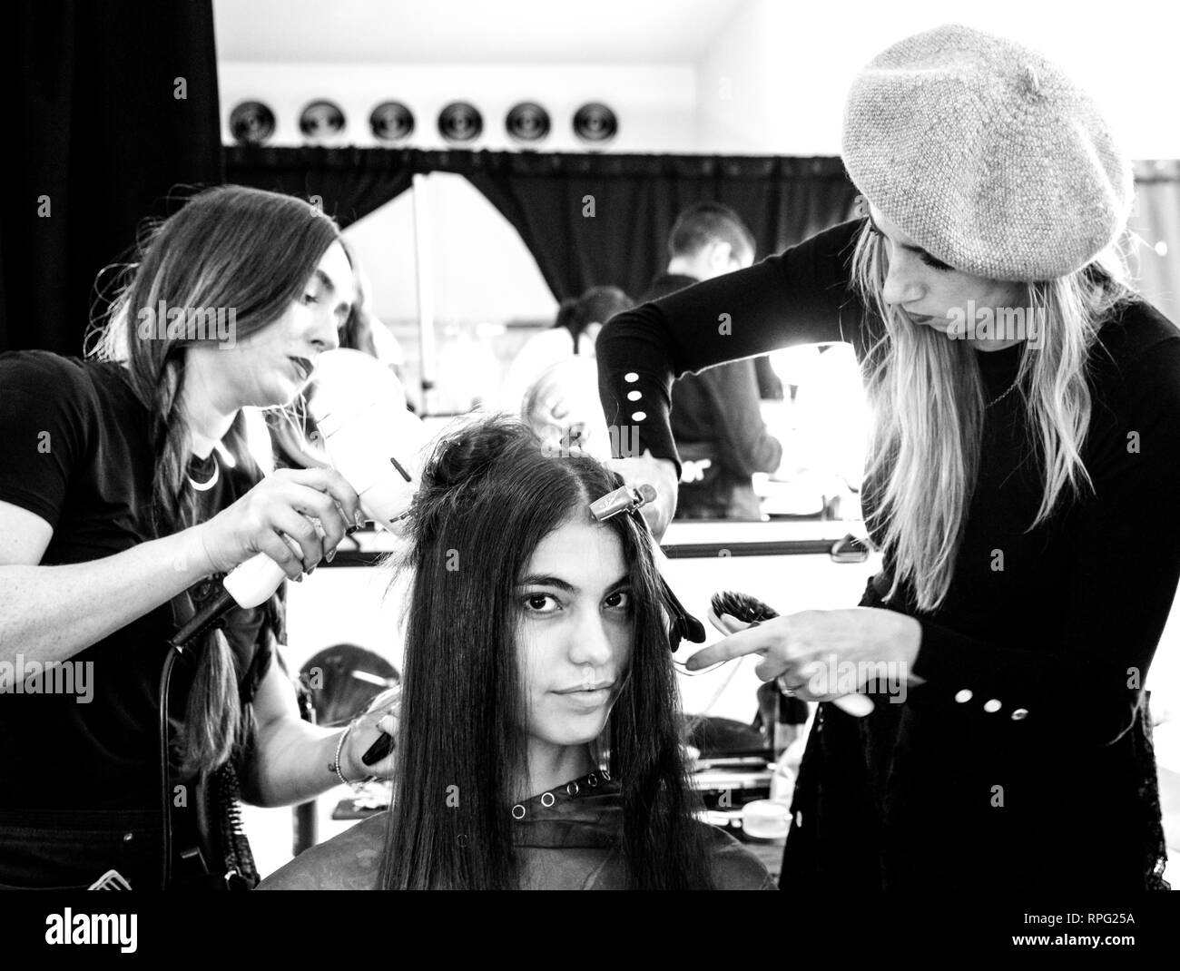 New York, NY - February 08, 2019: A model prepares backstage for the Cushnie Fall Winter 2019 fashion show during New York Fashion Week Stock Photo