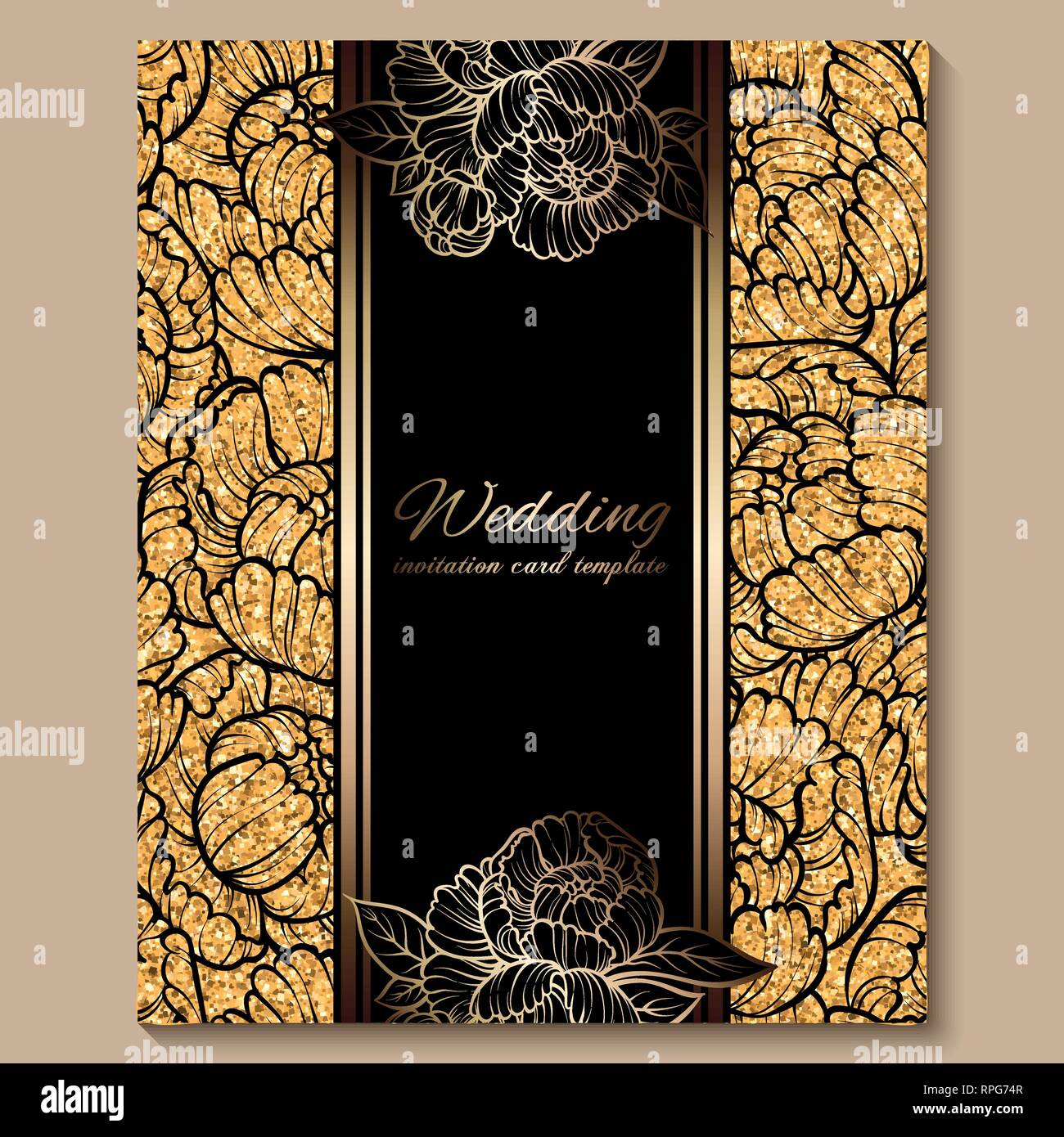 Antique Royal Luxury Wedding Invitation Card Golden Glitter