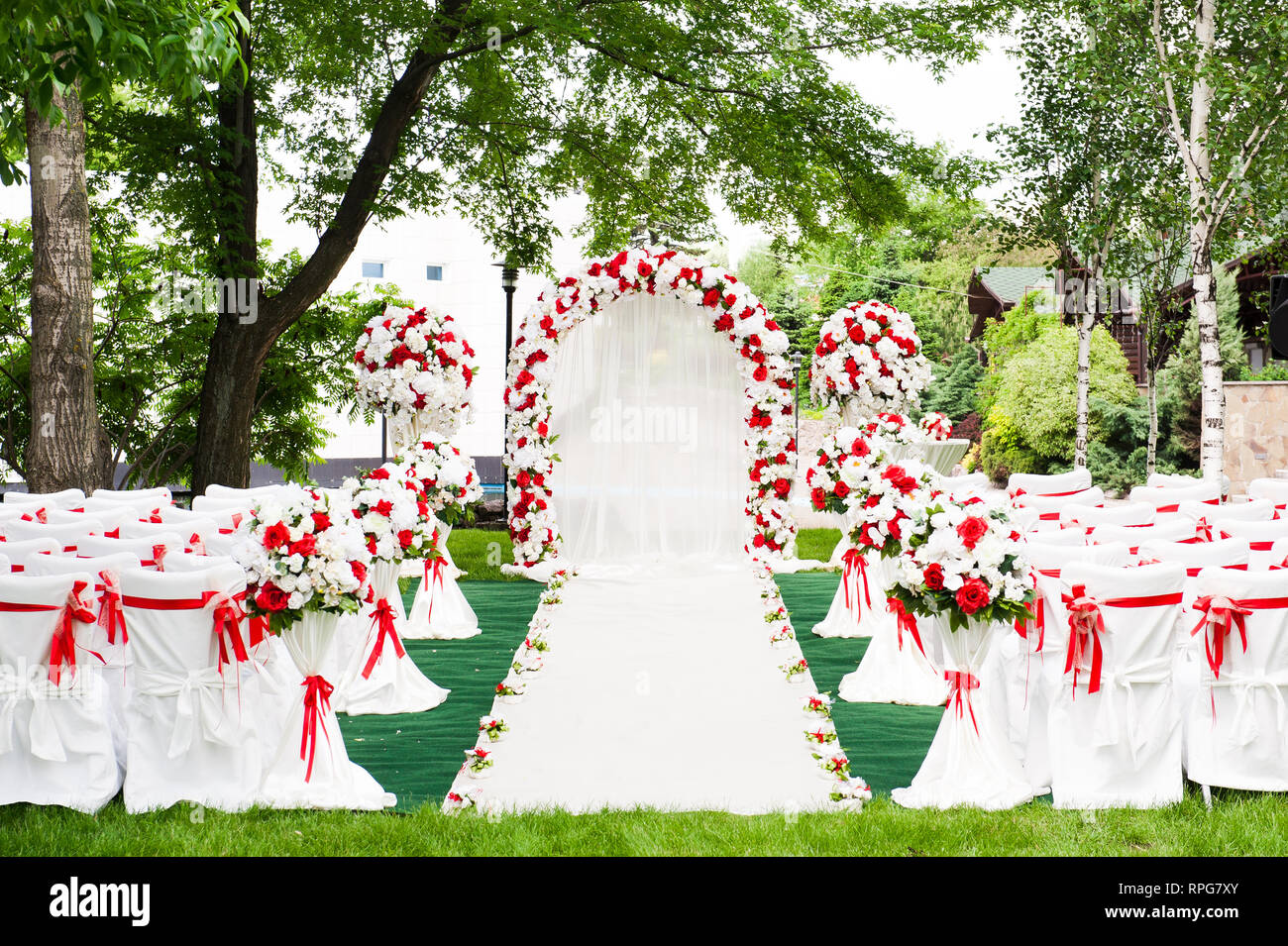 Image of: Wedding Ceremony Outdoors Wedding Ceremony Decoration Beautiful Wedding Decor Flowers Stock Photo Alamy