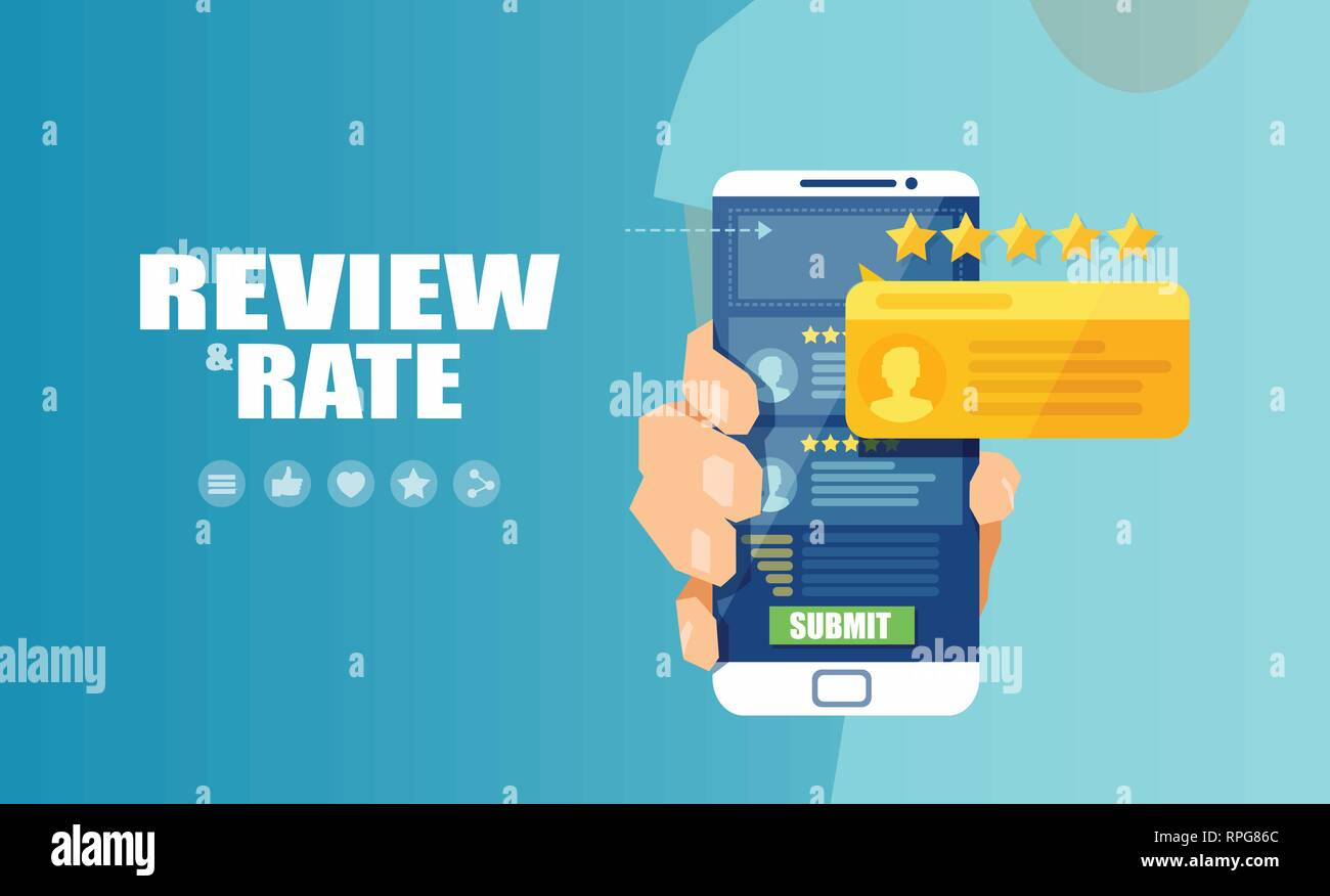 Vector of an online application on mobile phone to rate and review customer service, product or experience - Stock Vector