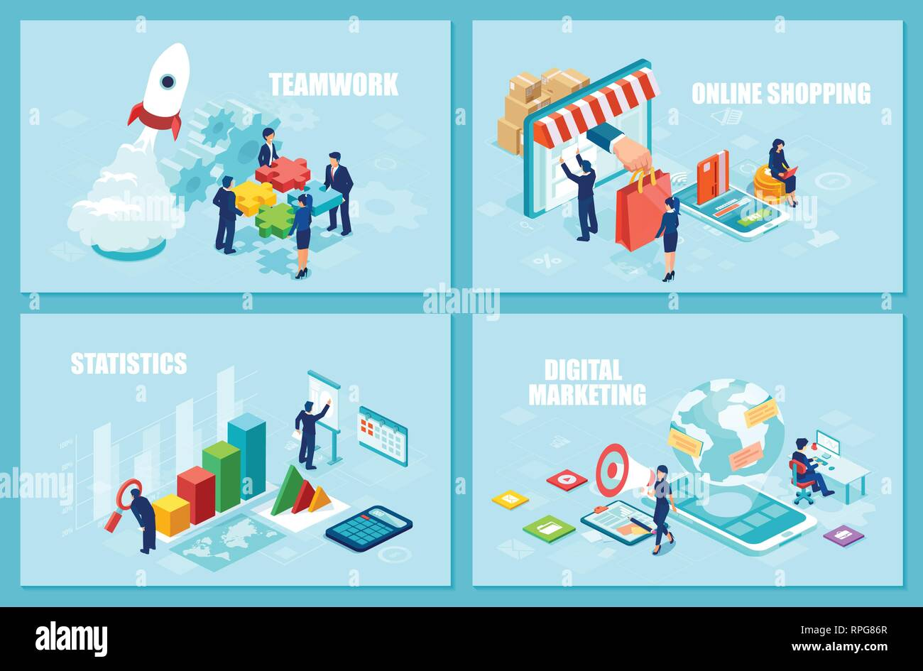 Internet business, teamwork and marketing concept. Set of isometric vector design templates for online shopping, startup strategy and financial analyt - Stock Image