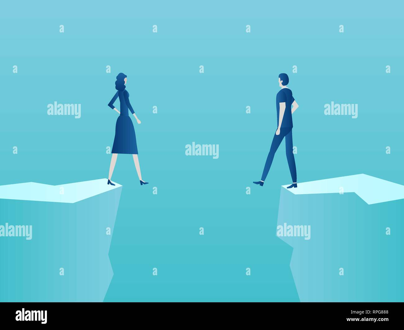 Marriage, relationship problems concept. Vector of a couple man and woman standing at the edge of the abyss - Stock Image