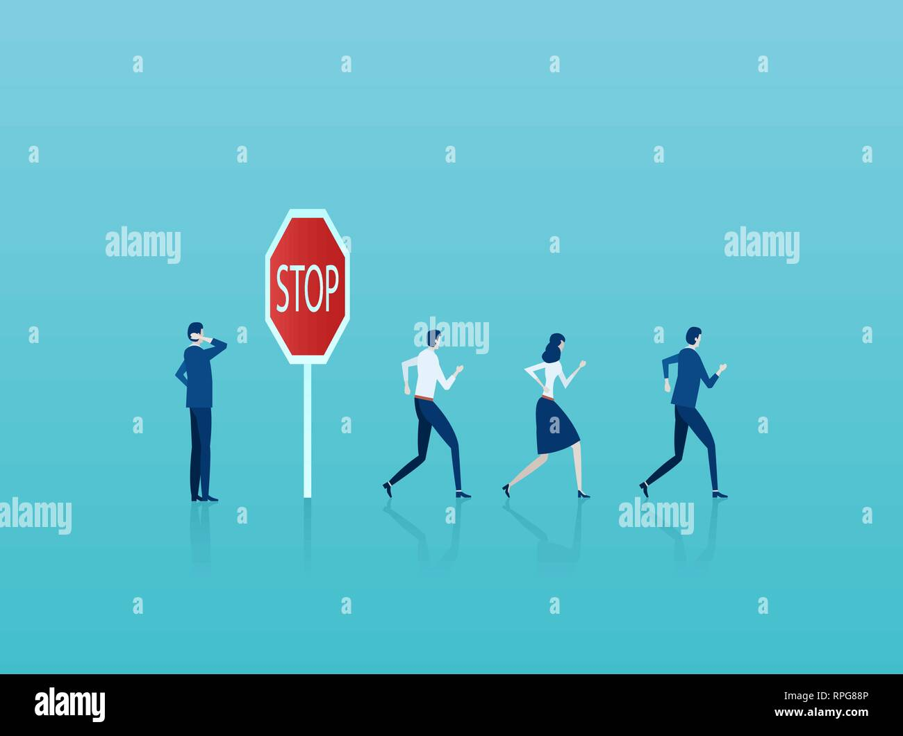 Business risk concept. Vector of a businessman thinking of potential risks at warning stop sign while crowd of businesspeople running forward - Stock Vector