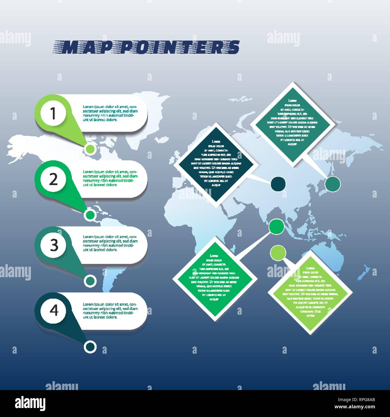 Collection of colorful map markers on world map Stock Vector