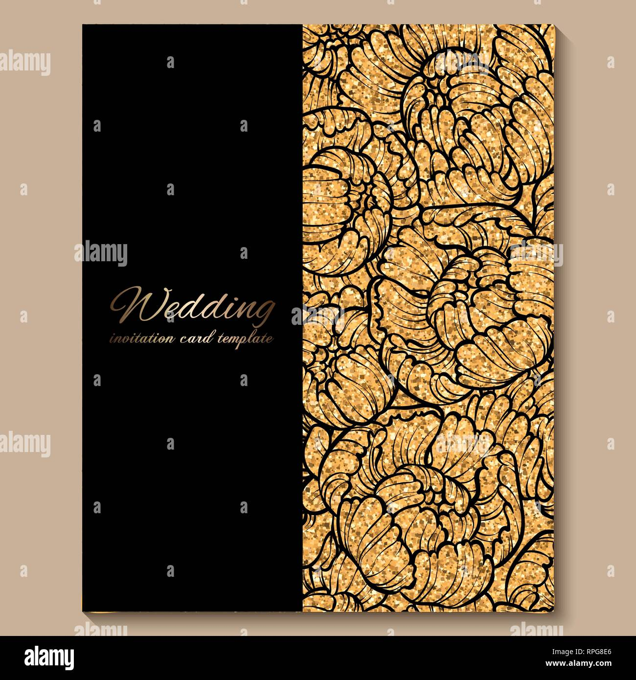 Antique Royal Luxury Wedding Invitation Card Golden Glitter Background With Frame And Place For Text Black Lacy Foliage Made Of Roses Or Peonies Stock Vector Image Art Alamy