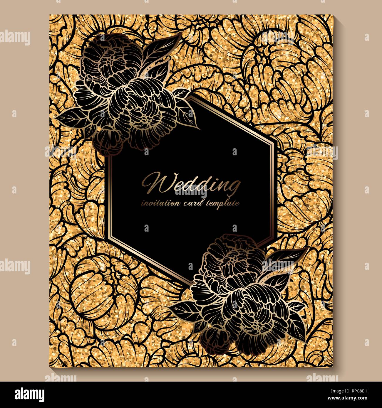 Antique royal luxury wedding invitation card, golden glitter background  with frame and place for text, black lacy foliage made of roses or peonies  Stock Vector Image & Art - Alamy