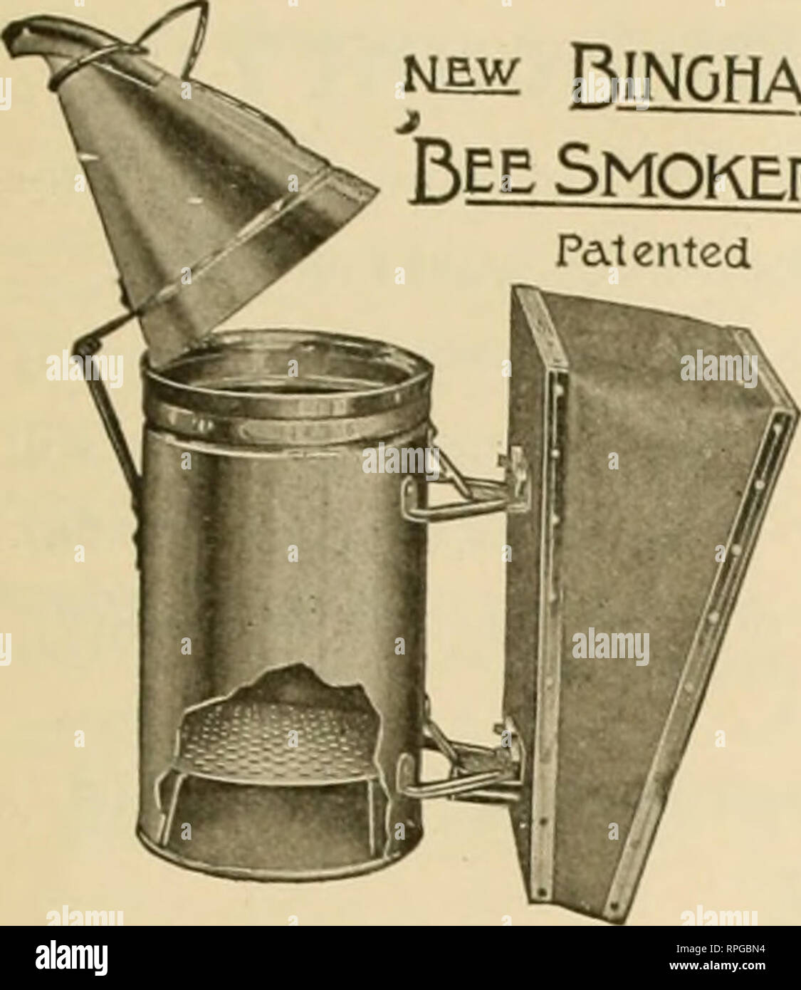 """. American bee journal. Bee culture; Bees. December, 1915. American Utie Journal Bingham Bee Smokers and Uncapping Knives ^l£w Bingham Bee Smoker Patented. Have been on the market nearly 40 years, and are the standard in this and many foreign countries. Insist on the genuine improved articles from your dealer or direct from manufacturers. Postage extra ship. wt. Price Smolte Eneiiie. 4 inch. 28 oz $1.25 Doctor }ii ' 26 oz 85 Conatieror 3 """" 23 oz 75 Little Wonder 2M """" 16 oz 50 Smoke Eneine or Doctor in copper 50c extra Uncapping Knives, improved Cold Handle Stan'd Length W 20 oz 75 Ex - Stock Image"""