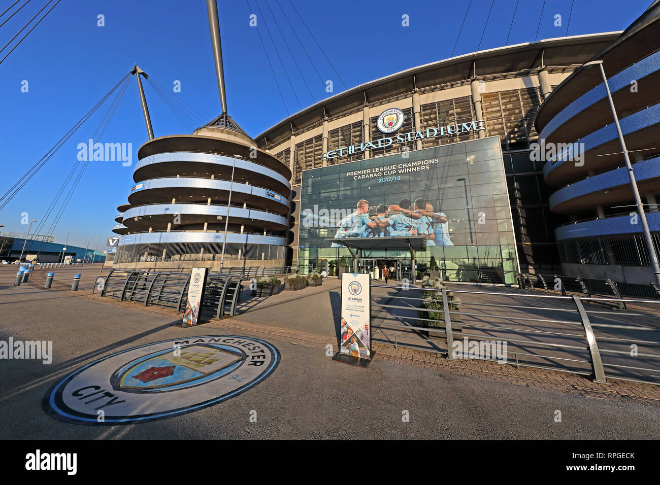 City of Manchester Stadium, The Etihad, MCFC, 13 Rowsley St, East Manchester,  M11 3FF - Stock Image
