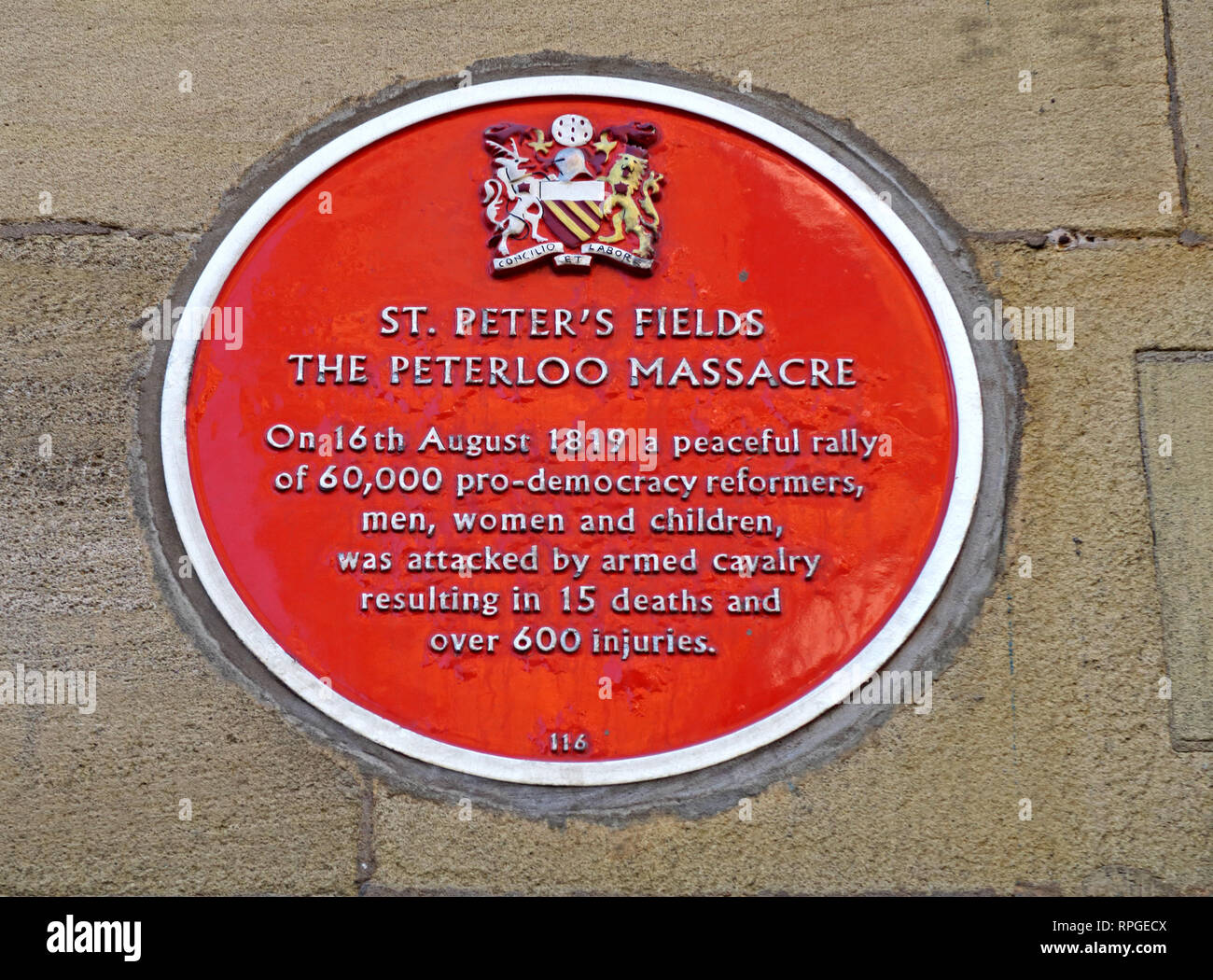 St Peters Fields, The Peterloo Massacre, Red Plaque, Peter Street, Manchester, North West England, UK - Stock Image