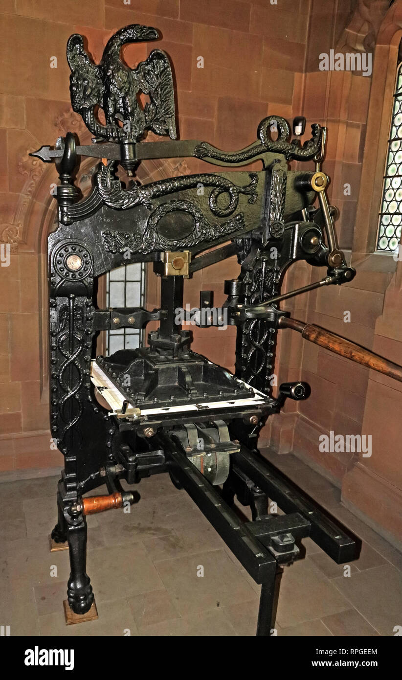 Columbian Gutenberg Printing Press, John Rylands Library, Manchester, North West England, UK, - Stock Image