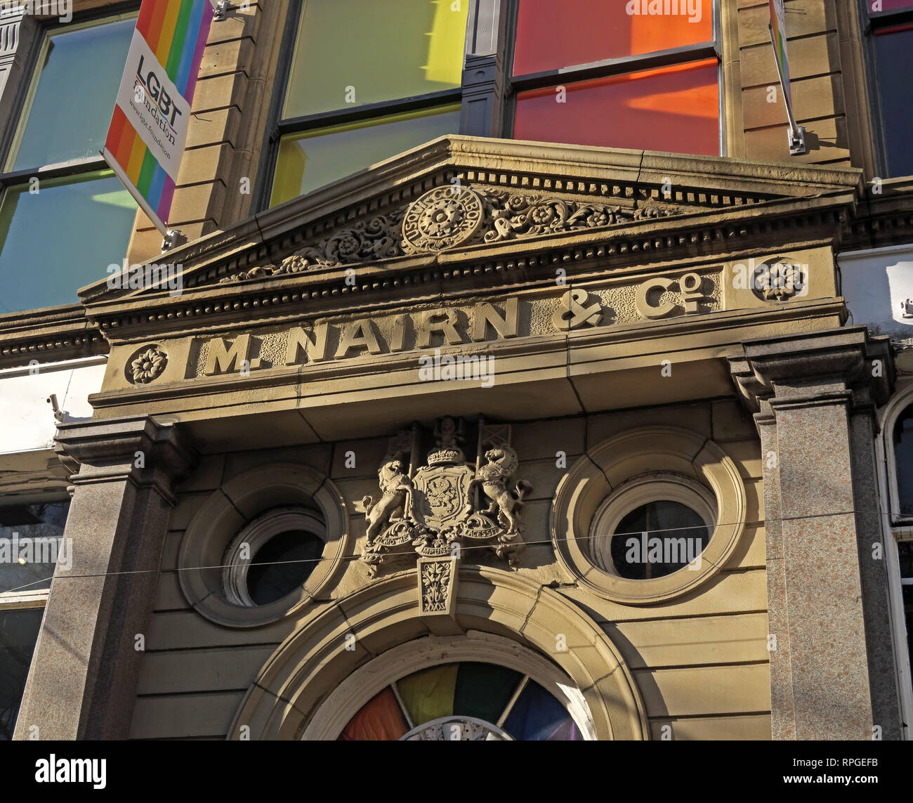 M Nairn & Co, office, canal St, Manchester, Gay Village, Lancashire, England, UK, M1 3HN - Stock Image