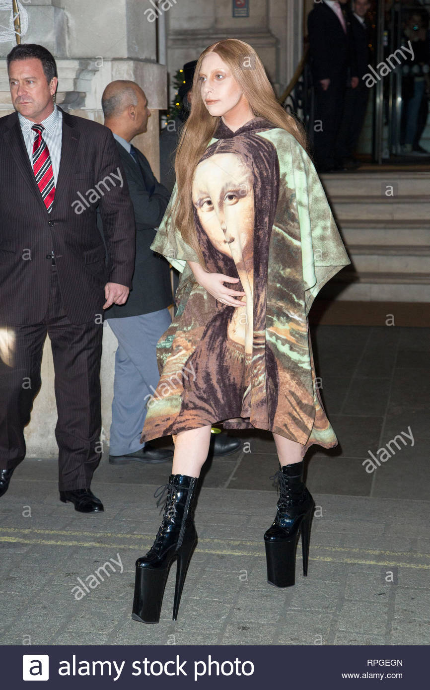 USA ONLY** London, UK - Pop superstar Lady Gaga steps out of her