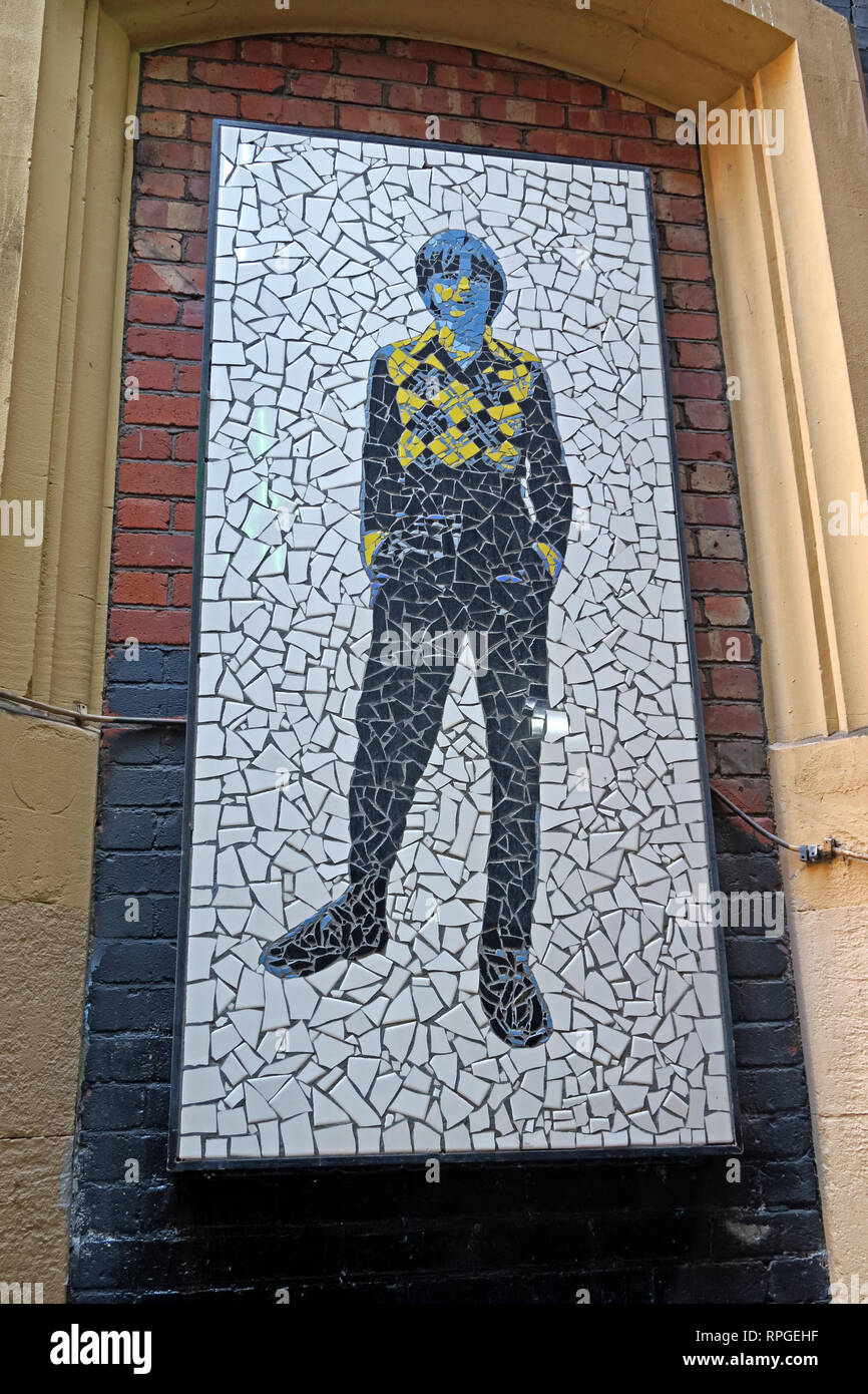 Mosaic on Afflecks Palace Tib St Manchester, Mark E Smith and The Fall, Ten Houses Of Eve, England, UK, M4 1PW - Stock Image