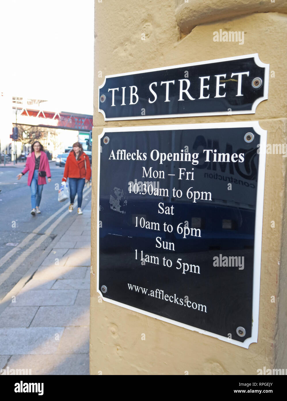 Tib Street, Afflecks Palace entrance, opening hours, Manchester Northern Quarter, 52 Church St, Manchester, UK, M4 1PW - Stock Image
