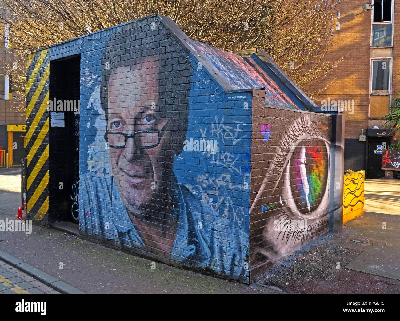 Tony Wilson (Anthony H Wilson) mural / artwork, Factory Records owner and Granada broadcaster, Tib St Manchester, UK - Stock Image