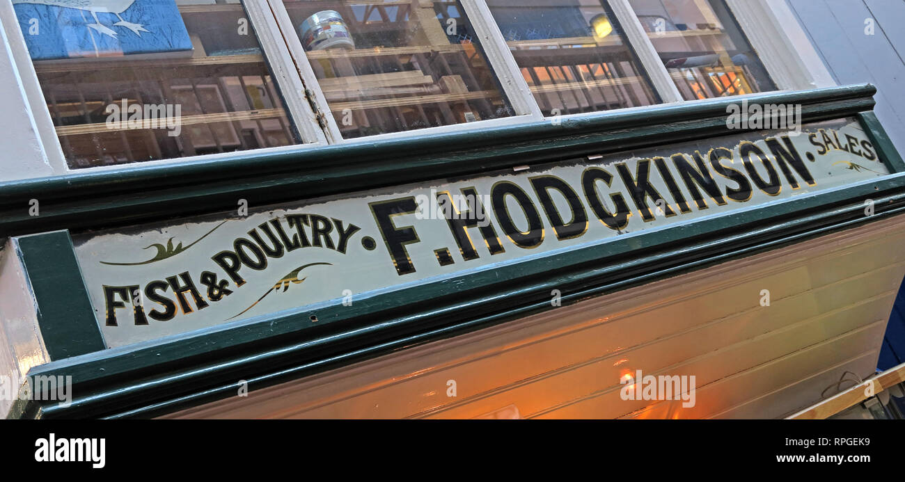 Fish & Poultry, F.Hodgkinson Sales office, Manchester Craft Village,  Oak Street, Northern Quarter, Manchester, Lancashire, UK, M4 5JD - Stock Image