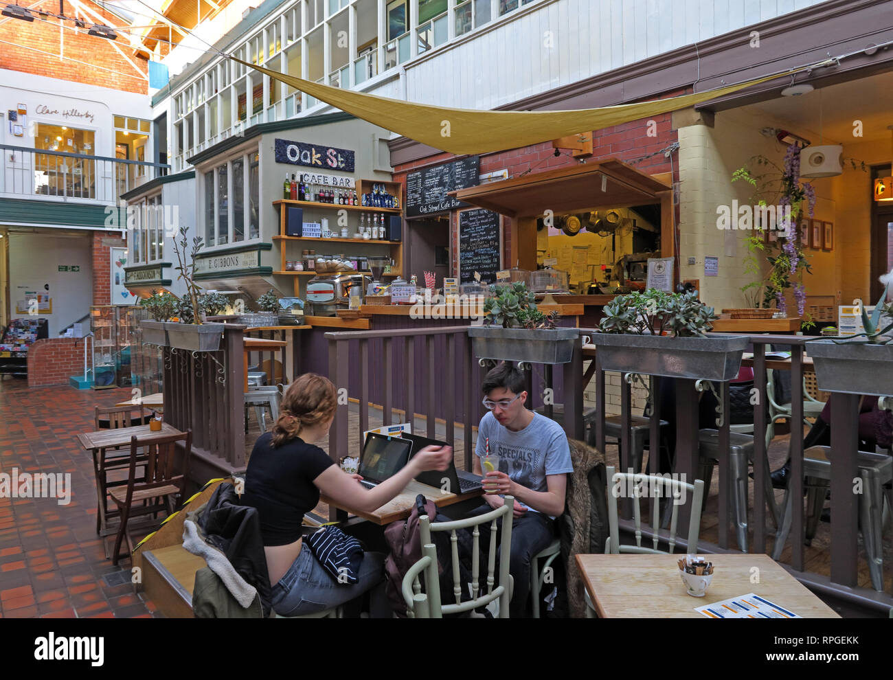 Manchester Craft Village, Oak Street Cafe, Vegetarian and other food in a relaxed environment, England, UK , M4 5JD Stock Photo