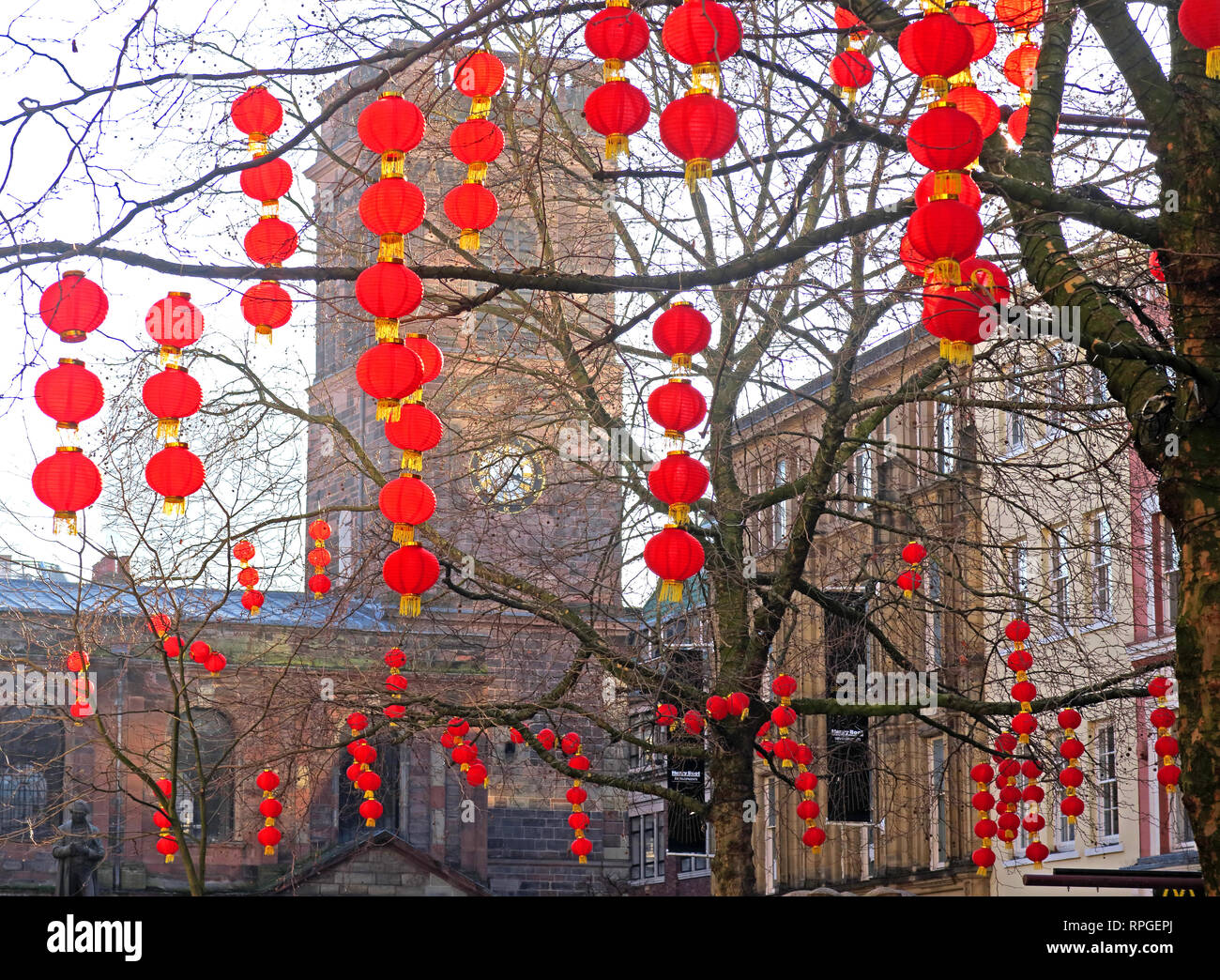 Red Lanterns in St Anns Square Manchester, Chinese New Year, Chinatown, North West England, UK - Stock Image