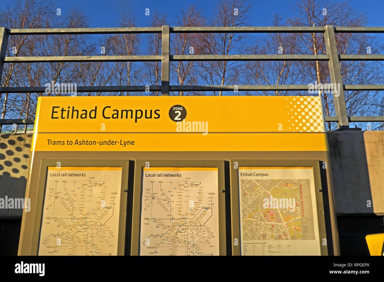 Etihad Campus Metrolink Stadium tram stop - Stock Image