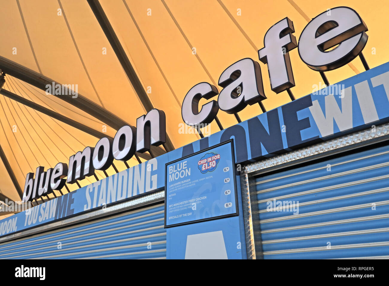 MCFC, Blue Moon Cafe, Etihad Stadium, Manchester City Football Club, North West England, UK - Stock Image