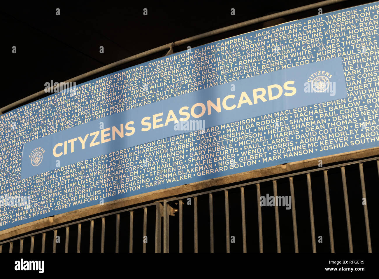 MCFC Manchester City, Etihad Stadium, Cityzens, Seasoncards, Season Ticket Cards, Football Club Stock Photo