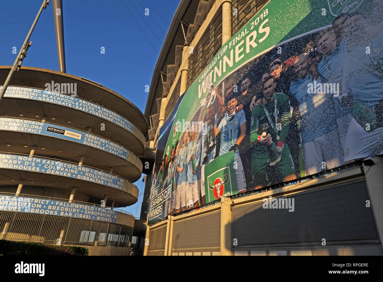 Manchester City Eitihad stadium, MCFC Caribou Cup Winners 2018, 2019, North West England, UK - Stock Image