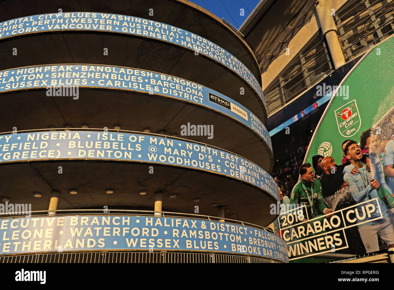 MCFC Etihad Manchester City FC Supporters club locations, stadium, England, UK - Stock Image