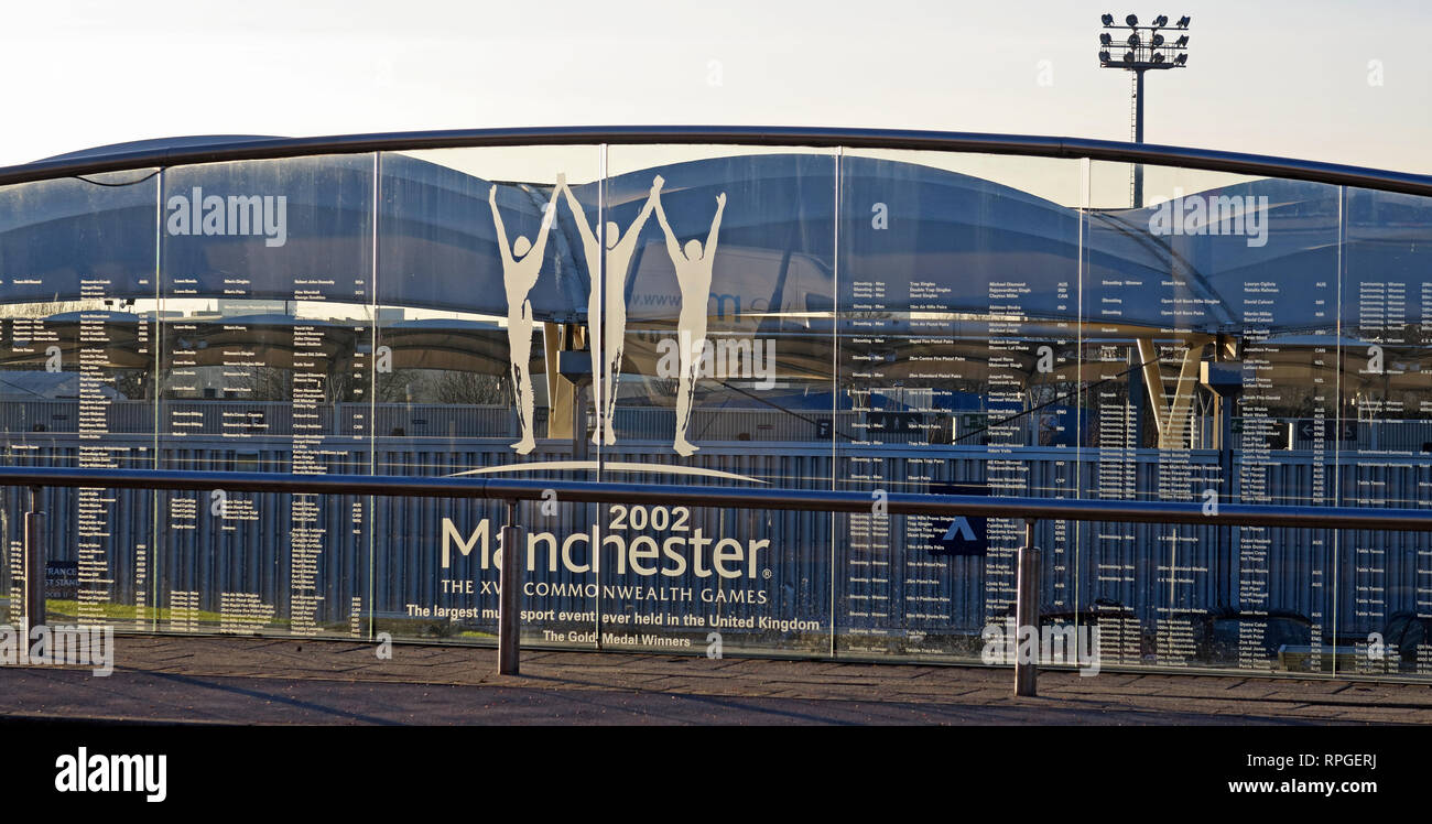 XVII Commonwealth Games and commonly known as Manchester 2002 stadium winners plaque in glass, North West England, UK Stock Photo