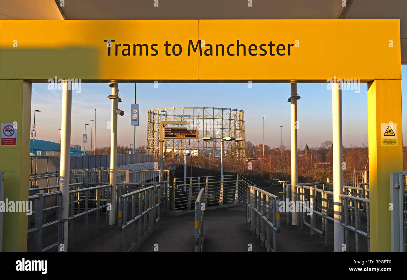 Trams To Manchester entrance sign at Etihad Campus, MCFC, East Manchester, North West England, UK - Stock Image