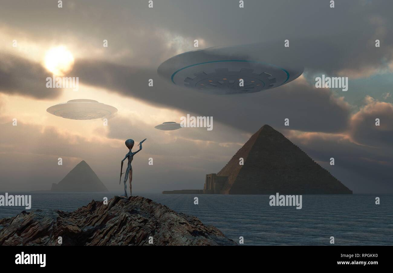 Ancient Aliens, The True Builders Of The Egyptian Pyramids. - Stock Image
