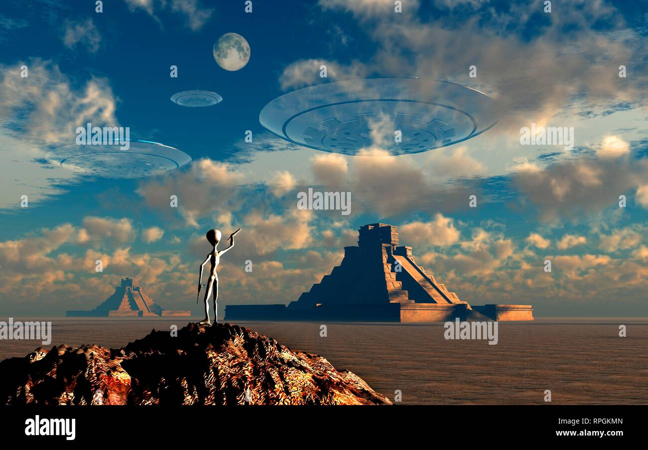 Ancient Mayan Gods Known As Grey Aliens , Signaling Their Flying Saucers , As They Approach Their Landing Sites. - Stock Image