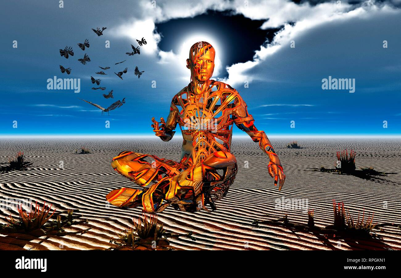 Male Figure Levitating in an Alternate State, While Practicing Transcendental Meditation. Stock Photo