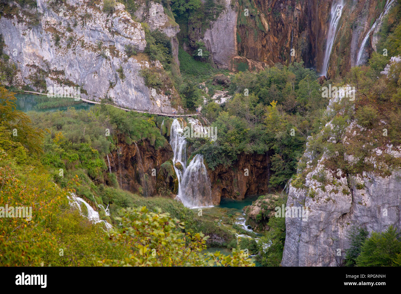 Plitvice lakes & waterfalls  scenery in Croatia's first national park. - Stock Image