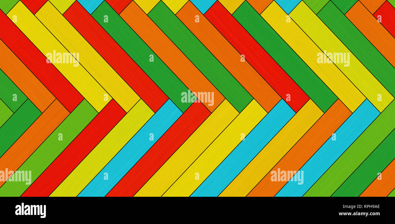 Seamless parquet texture (horizontal herringbone colorful clip art) - Stock Image