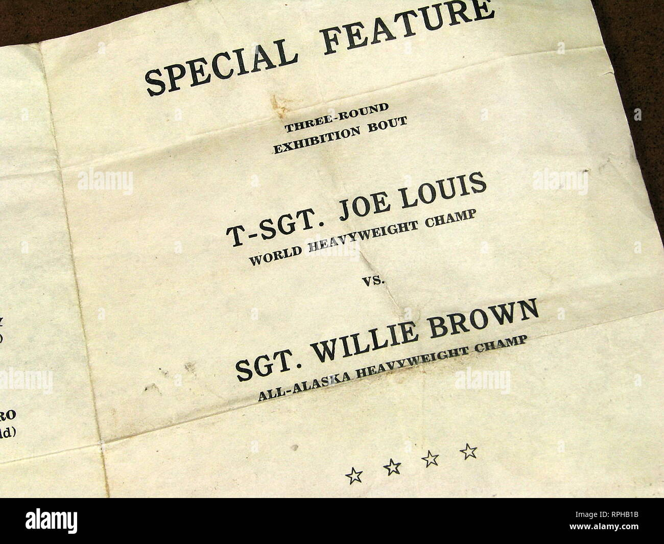 Rare and Vintage Collectible TSgt Joe Louis Fort Richardson Alaska Military Boxing Card 1945. - Stock Image