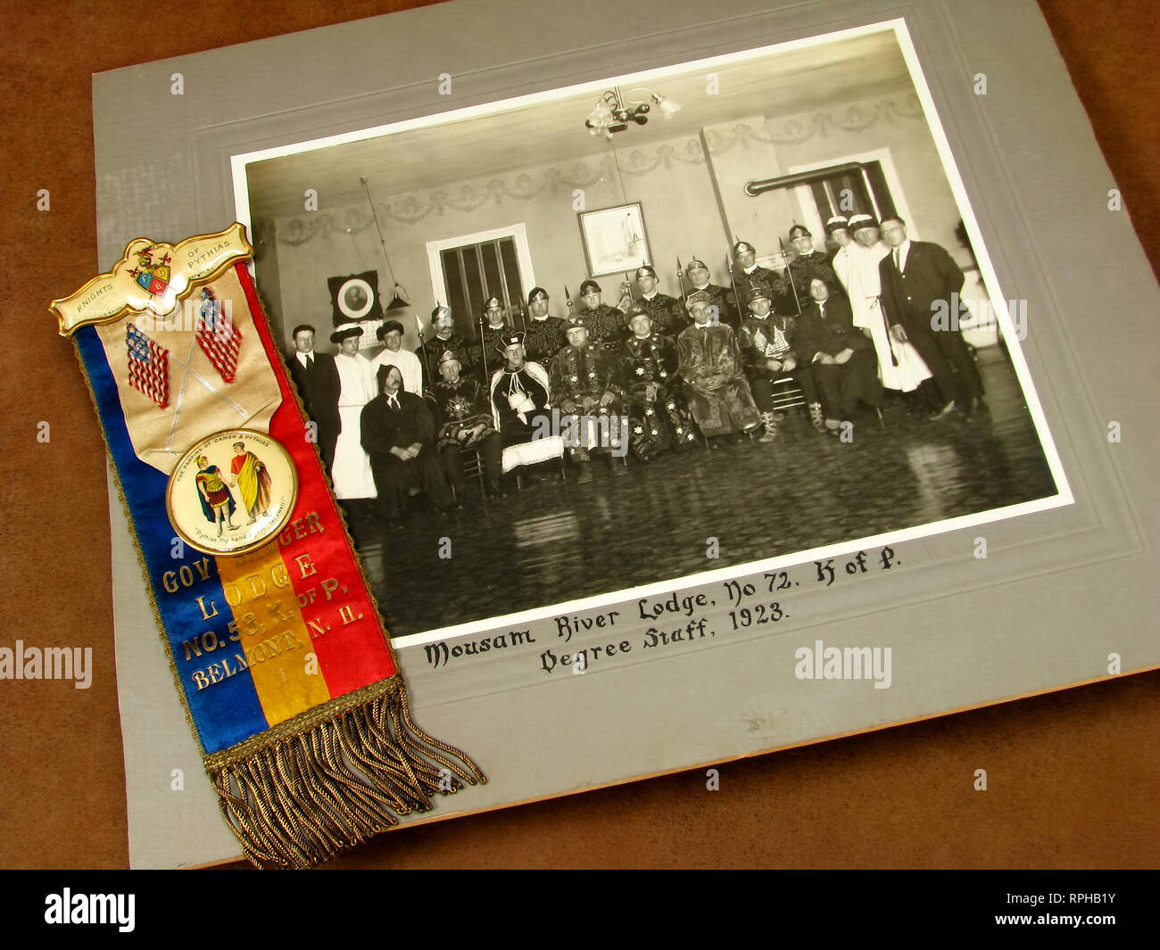Vintage photo and ribbon of The Knights of Pythias, an early American fraternal order. Stock Photo