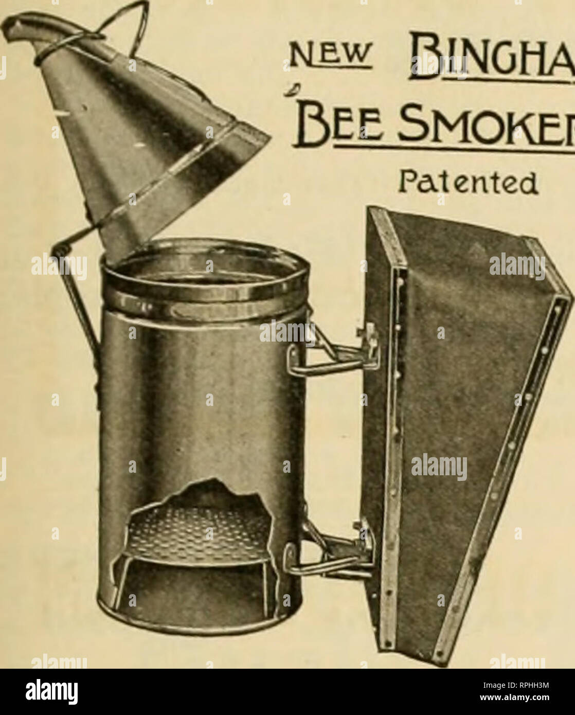 """. American bee journal. Bee culture; Bees. August, 1915. American Ree Journal Bingham Bee Smokers and Uncapping Knives i^sw Bingham Bee Smoker Patented. Have been on the market nearly 10 years, and are the standard in this and many foreign countries. Insist on the genuine improved articles from your dealer or direct from manufacturers. Postage extra ship. vt. Price .Smoke Engine, 4 inch. 28 oz Ji 2^ Doctor i'A ' 2602 85 Conqueror 3 """" jj oz 75 Little Wonder 2% """" ib oz =;o Smoke Engine or Doctor in copper 50c extra Uncapping Knives, improved Cold Handle Stan'd Length 8H ' 20 oz 75 Ex - Stock Image"""