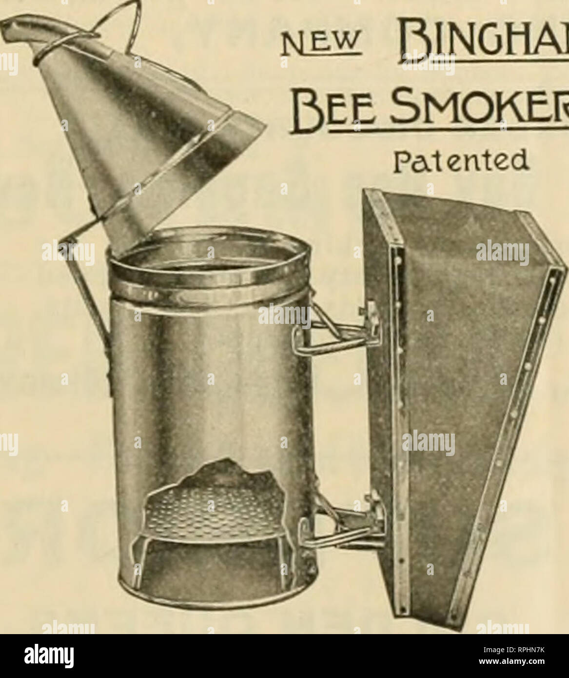 . American bee journal. Bee culture; Bees. MEW BINGHAM SMOKER. Patented. The New Bingham Bee-Smoker the all important tool of the mo?t ex- tensive honey-producers of the world. This illustration shows the remarkable steel-fire grate which such men as Mr. France, Mr. Rauchfuss, the Dadants and others say is the best on the mar- ket. The Smoke Engine grate has 381 holes for the air and draft, equal to an opening 2 inches square. Buy the large sizes and be pleased. For sale at your dealers or direct. Weight each. Smoke Engine 4inch stove. ...i'-'lbs. $1.25 Doctor 3!^-inch stove..1^8 ^ .85 Two lar - Stock Image