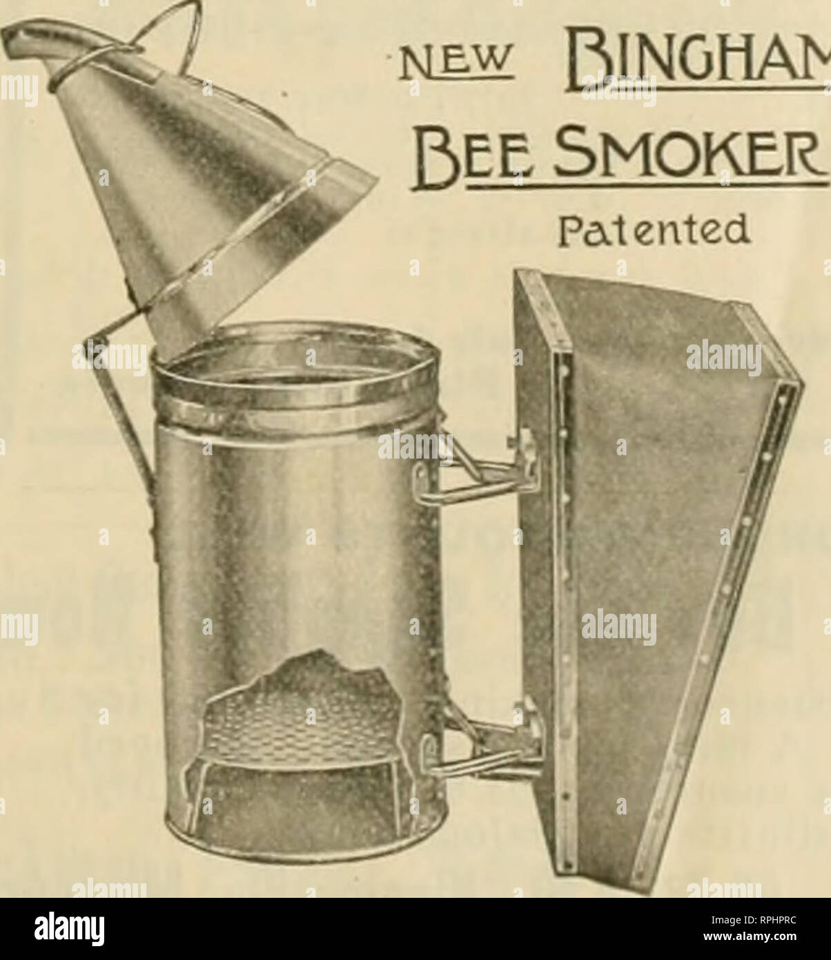 """. American bee journal. Bee culture; Bees. 51NGHAM ^^^ ''®"""" Bingham Bee-Smoker the all important tool of the most ex- tensive honey-producers of the world. This illustration shows the remarkable steel-fire grate which such men as Mr. France, Mr. Rauchfuss, the Dadants and others say is the best on the mar- ket. The Smoke Engine grate has 381 holes for the air and draft, equal to an opening 2 inches square. Buy the large sizes and be pleased. For sale at your dealers or direct. Weight each. Smoke Kngine 4-inch stove i^lbs. $1.25 Doctor • 3!4-inch stove..ifi """" .8s Two largersizes in co - Stock Image"""