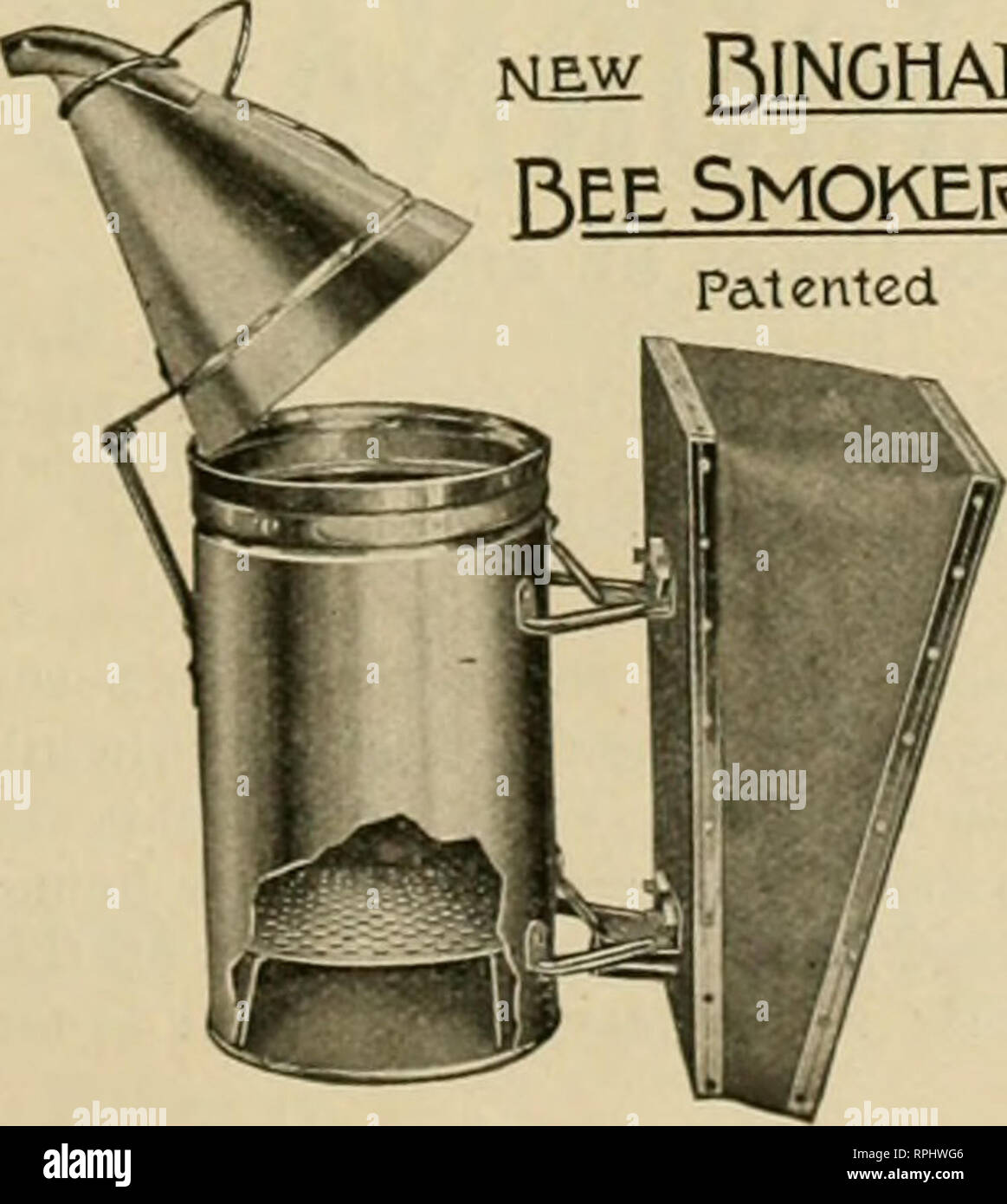 . American bee journal. Bee culture; Bees. NEW PtiNGHAM ^l*® I*®* Bingham Bee-Smoker Smoker Patented. the all important tool of the mof=t ex- tensive honey-producers of the world. This illustration shows the remarkable steel-fire grate which such men as Mr. France, Mr. Rrauchfuss, the Dadants and others say is the best on the mar- ket. The Smoke Engine grate has 381 holes for the air and draft, equal to an opening 2 inches square. Buy the large sizes and be pleased. For sale at your dealers or direct. Weight each. Smoke Engine 4-Hich stove iVlbs. $1.25 Doctor 3!4-inch stove.i?8 ?? .85 Two larg - Stock Image