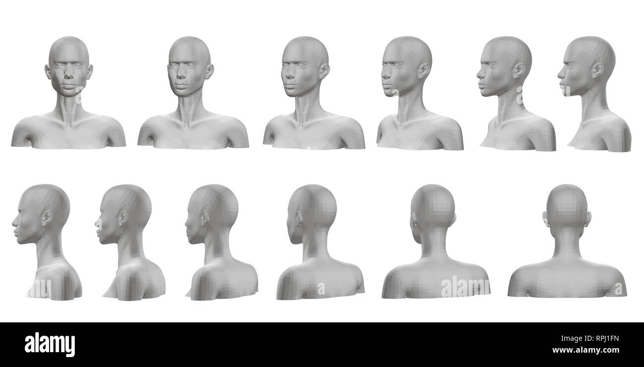 Set with mannequin presented on all sides. 3D. Isolated set with a mannequin with a bust and head. The dummy view rotates from the front side to the b Stock Vector