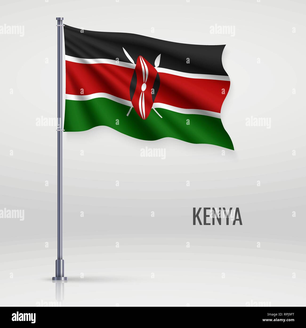 Waving flag of Kenya on flagpole. Template for independence day poster design Stock Vector