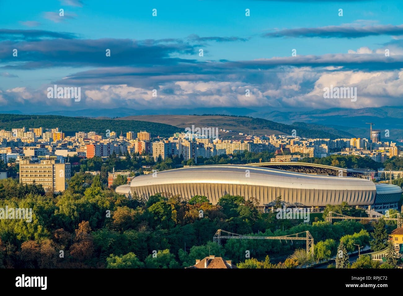 Cluj Arena multi-use stadium on a sunny day with blue sky in Cluj-Napoca, Romania. It is ranked as an UEFA Elite Stadium. - Stock Image