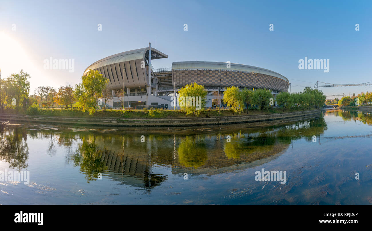 Cluj Arena on a sunny summer day. Is a multi-use stadium in Cluj-Napoca, Romania and is ranked as an UEFA Elite Stadium, Category 4 Stock Photo