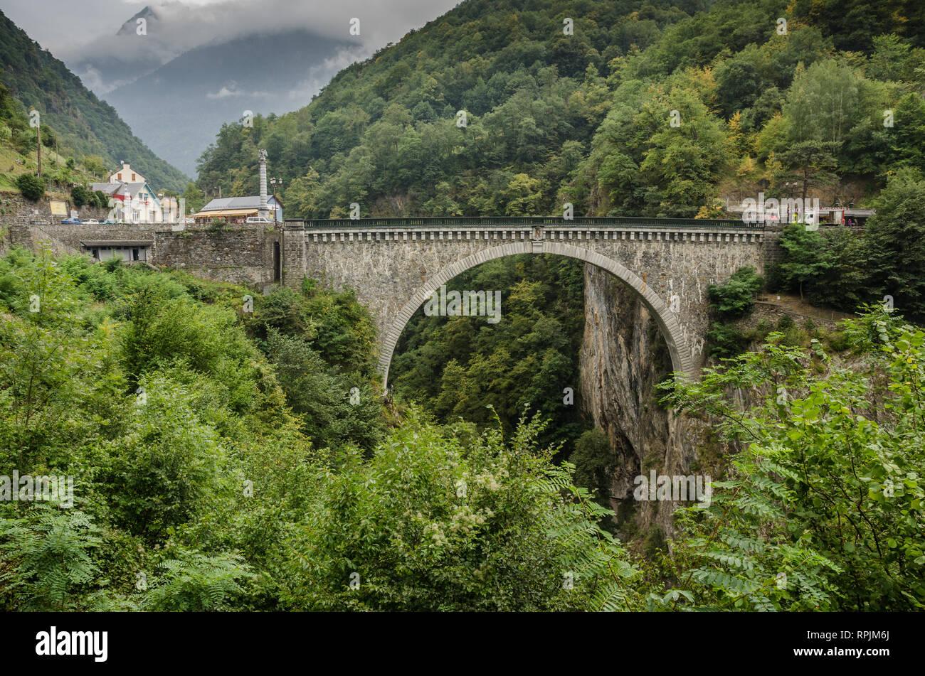 view of the bridge of Napoleon near Luz-Saint-Sauveur Stock Photo
