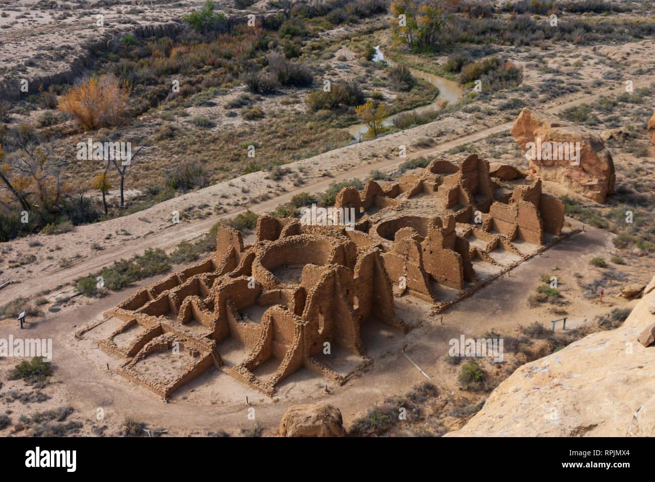 An areal view of Pueblo Bonito at Chaco Canyon, New Mexico Stock Photo