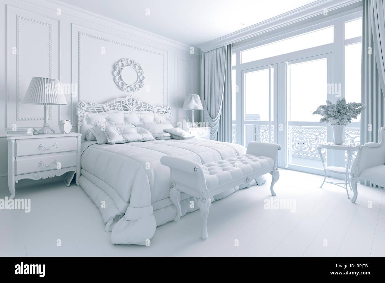 3d Render Of Beautiful Classic Bedroom Interior Stock Photo Alamy