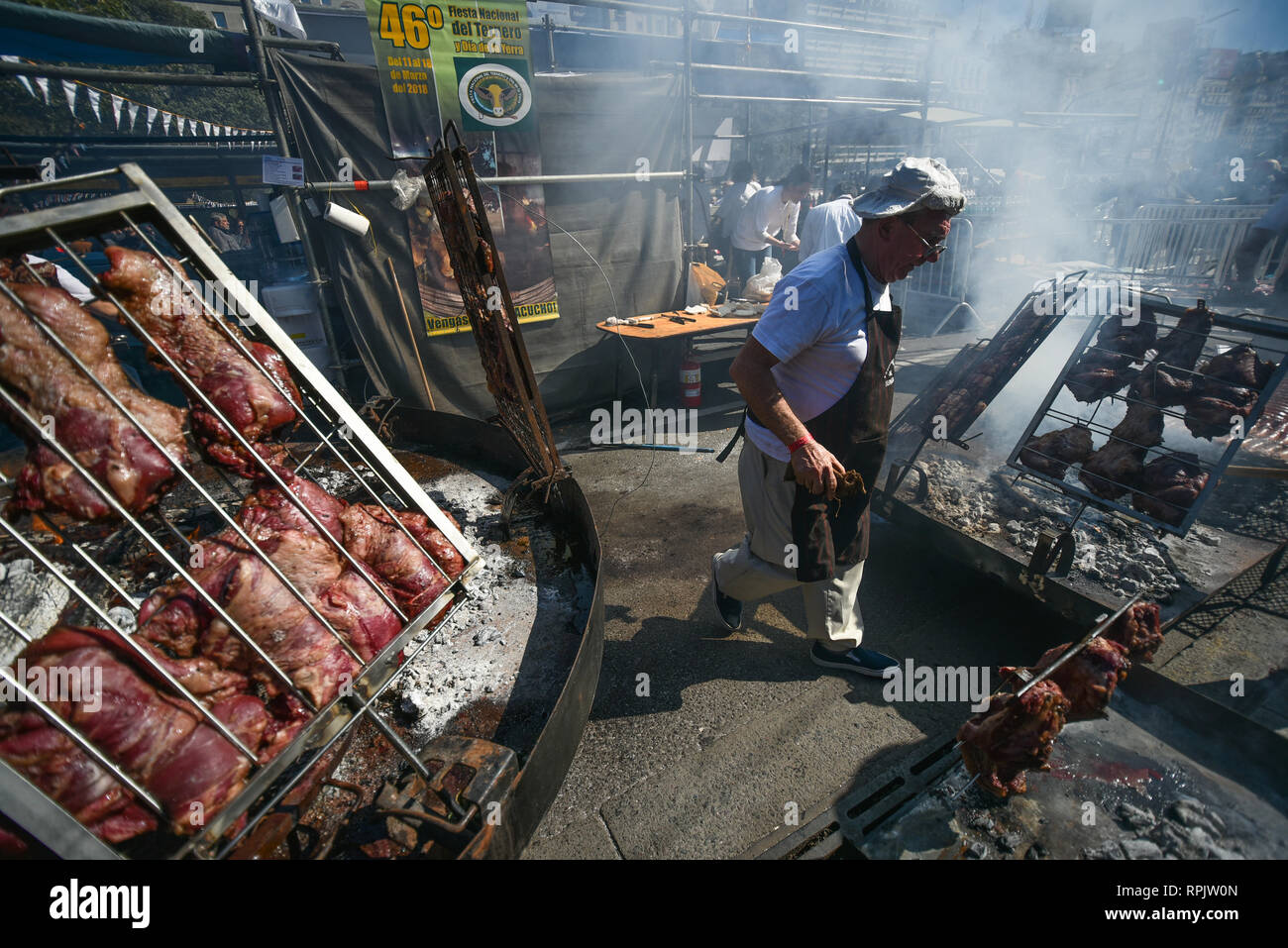 Buenos Aires, Argentina - 20 Aug, 2017: Cooking a traditional South American asado (grill) during the Federal Asado Championship. - Stock Image