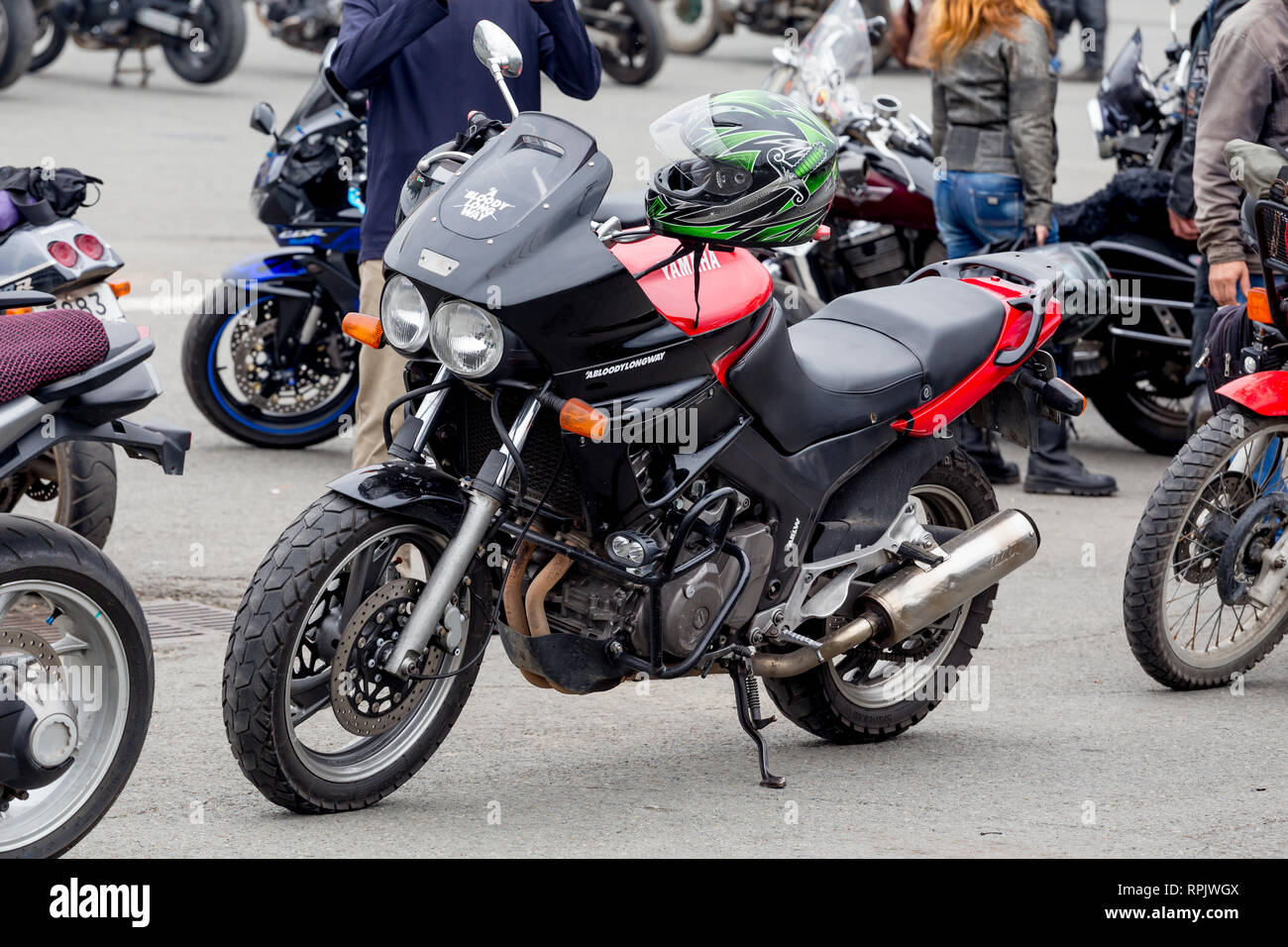 Russia, Vladivostok, 10/06/2018. Yamaha sport bike (motorcycle) on bike show in the city downtown. Sport bikes, active lifestyle, motorbike as hobby. - Stock Image
