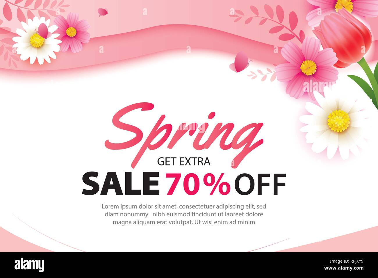 Spring Sale Banner With Blooming Flowers Background Template Design
